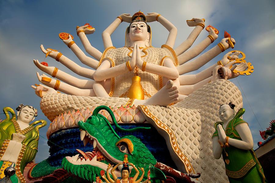 Hdr Photograph - Plai Laem Buddha by Adrian Evans