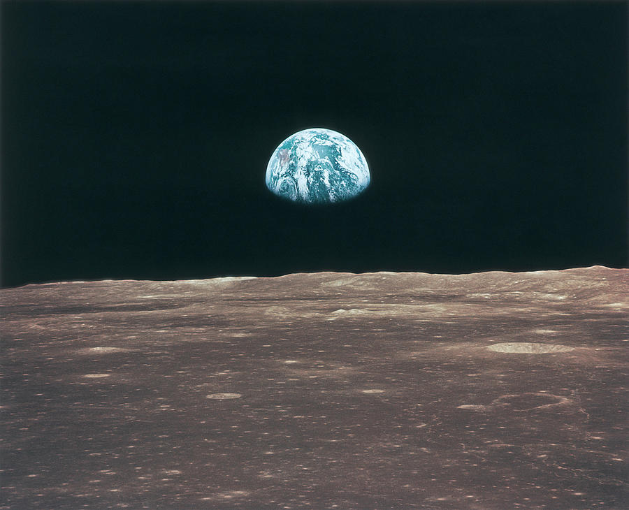 Planet Earth Viewed From The Moon Photograph