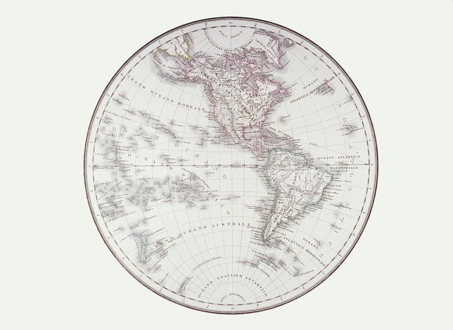 Horizontal Digital Art - Planispheric Map Of The Western Hemisphere by Fototeca Storica Nazionale