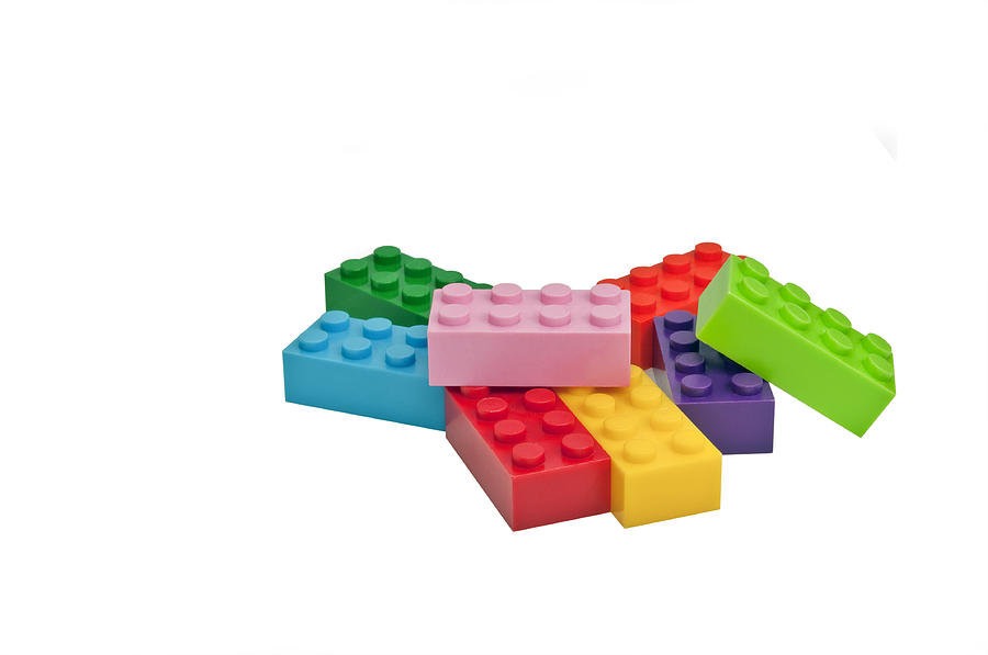 Plastic Toys. Building Blocks. Photograph  - Plastic Toys. Building Blocks. Fine Art Print