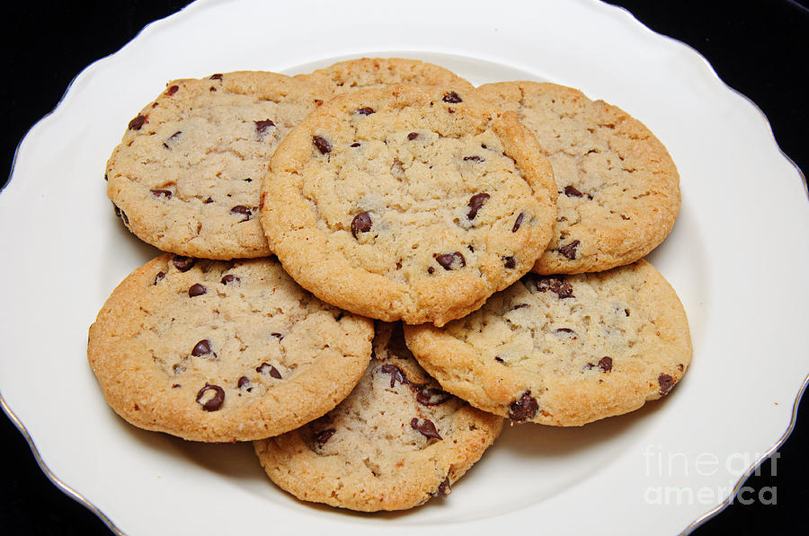 Plate Of Chocolate Chip Chocolate Chip Cookies On A Plate