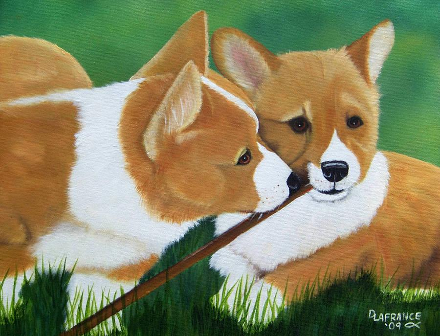 Playful Corgis Painting