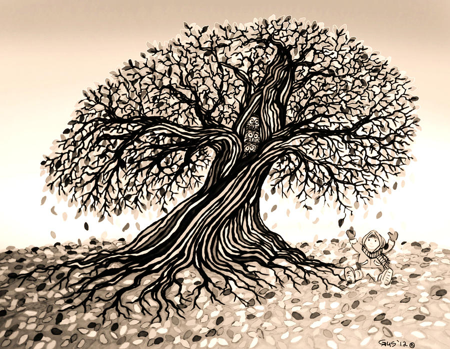 Trees Drawing - Playing In The Falling Leafs by Nick Gustafson