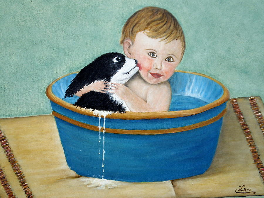 Playing In The Tub Painting  - Playing In The Tub Fine Art Print