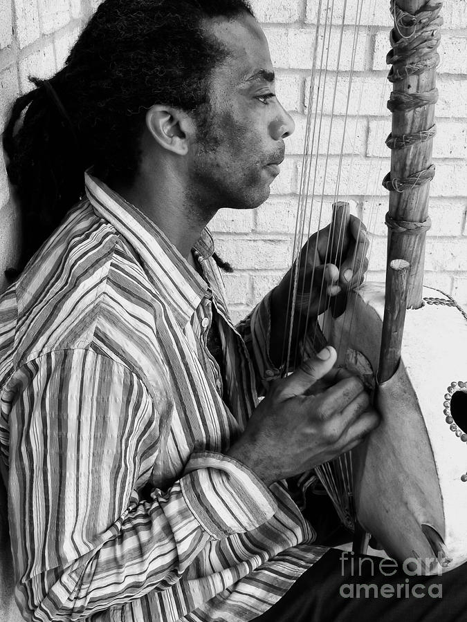 Musical Instrument Photograph - Playing The Koro - Black And White by Kathleen K Parker