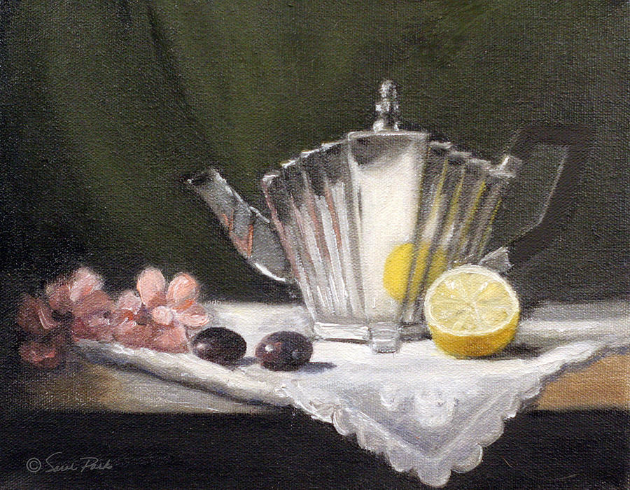 Pleated Teapot With Lemon Painting  - Pleated Teapot With Lemon Fine Art Print