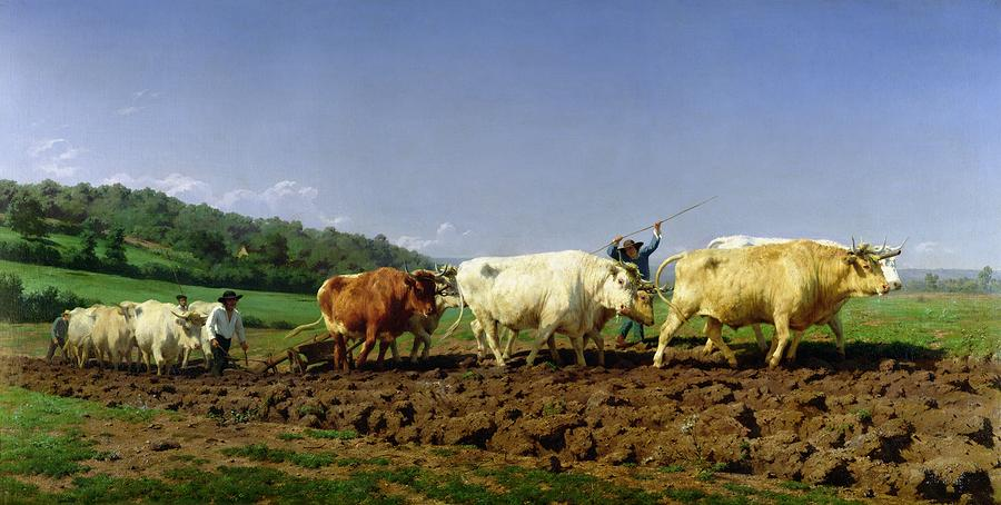 Ploughing In Nivernais Painting