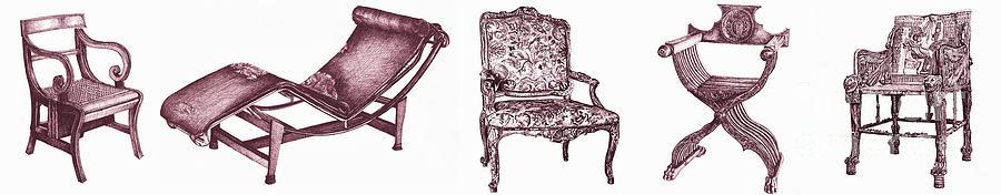 Regency Drawing - Plum Chair Poster Horizontal  by Adendorff Design