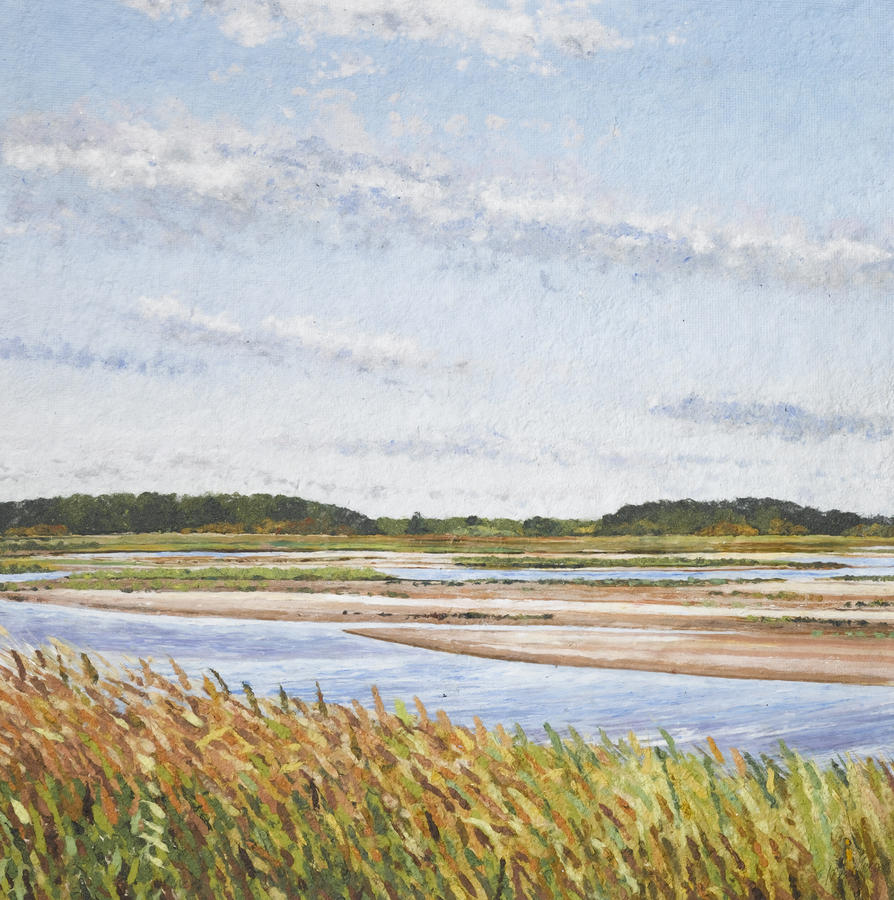 Handmade Paper Painting - Plum Island Morning by Meg Black