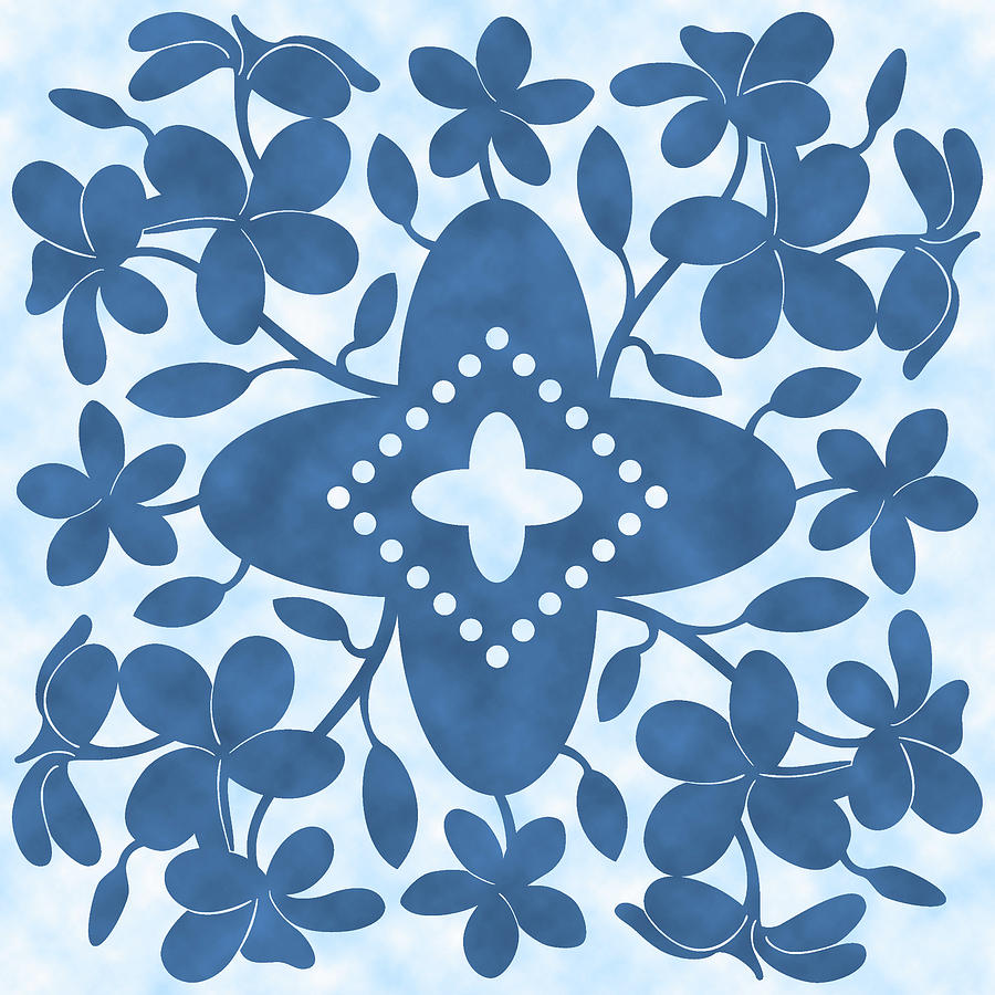 Plumeria Hawaiian Quilt Block is a drawing by Alison Stein which was ...