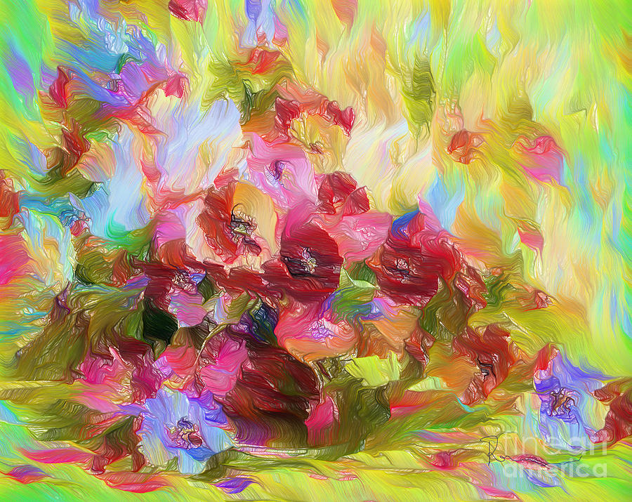 Poetic Poppies Expressionism Mixed Media  - Poetic Poppies Expressionism Fine Art Print