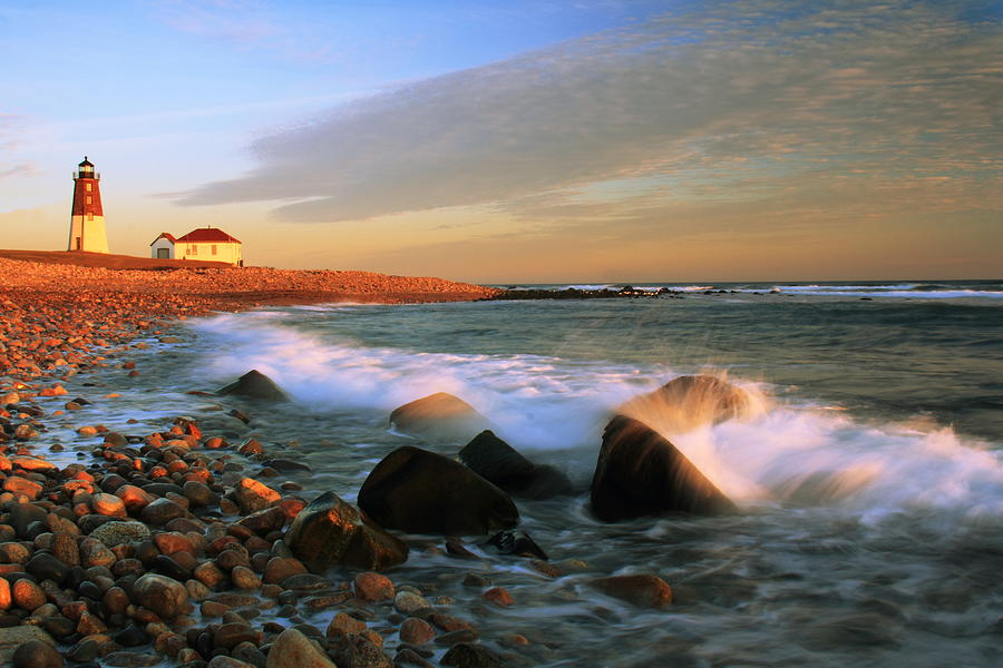 Point Judith Lighthouse Seascape Photograph