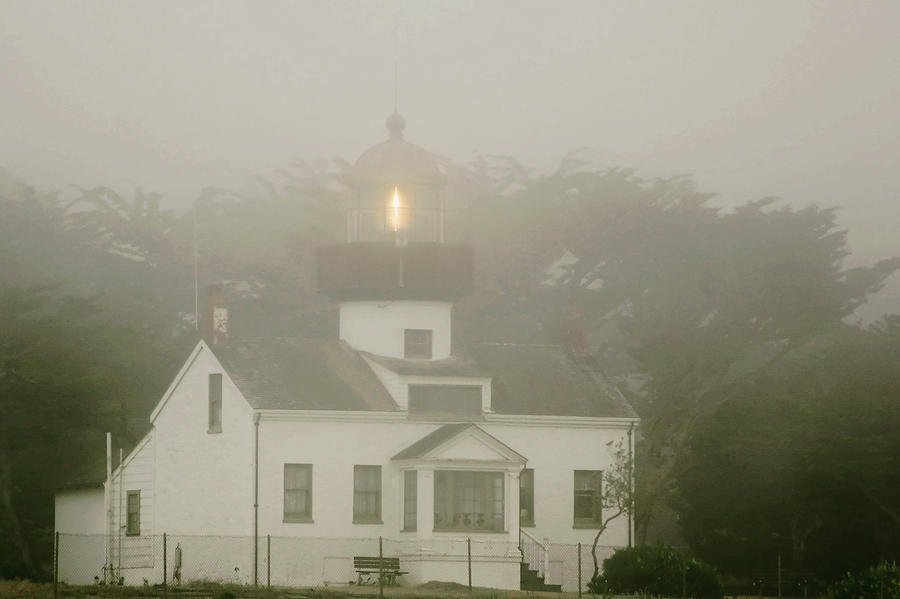 Point Pinos Lighthouse In A Foggy Night - Pacific Grove Monterey Central Ca Photograph