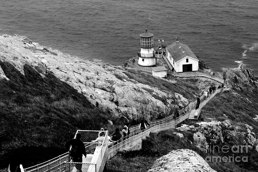 Point Reyes Lighthouse In California . Black And White Photograph  - Point Reyes Lighthouse In California . Black And White Fine Art Print