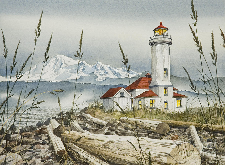 Point Wilson Lighthouse Painting  - Point Wilson Lighthouse Fine Art Print
