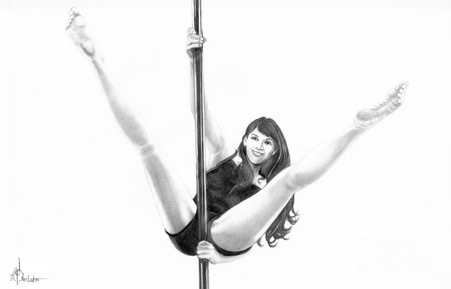 Pole Dancer Drawing  - Pole Dancer Fine Art Print
