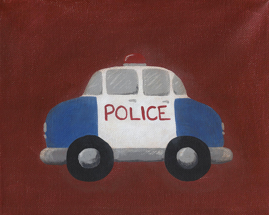 Police Car Nursery Art Painting  - Police Car Nursery Art Fine Art Print