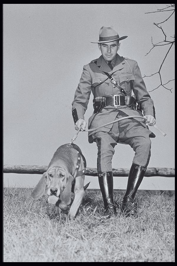 Policeman And His Dog Walking, 1950s Photograph
