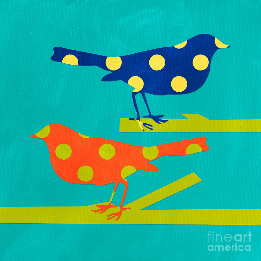 Polka Dot Birds Mixed Media