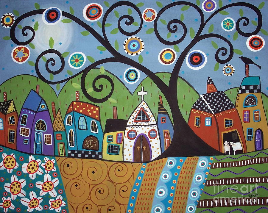 Polkadot Church Painting  - Polkadot Church Fine Art Print