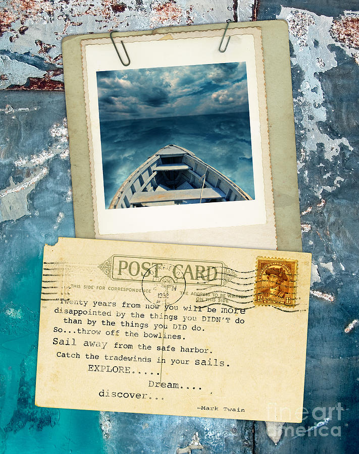 Poloroid Of Boat With Inspirational Quote Photograph