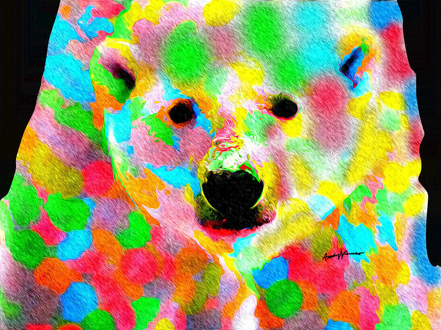 Polychromatic Polar Bear Painting  - Polychromatic Polar Bear Fine Art Print
