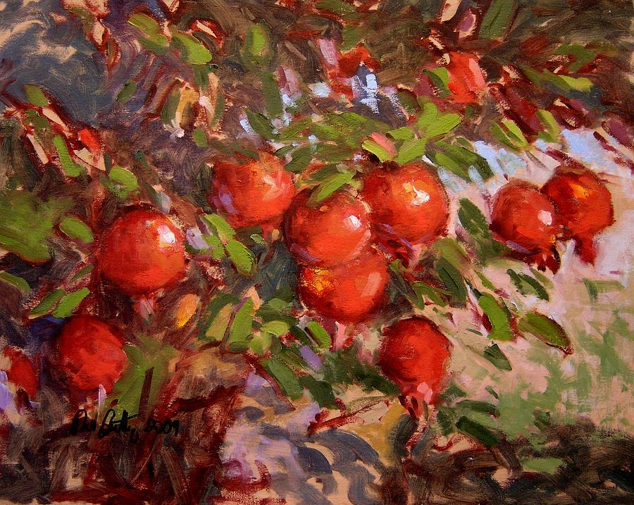 Poms On The Tree Painting by R W GoettingPersian Pomegranate Art