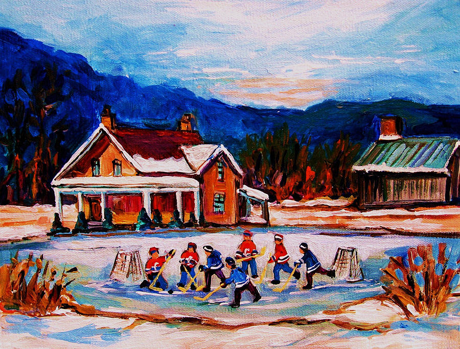 Pond Hockey Painting