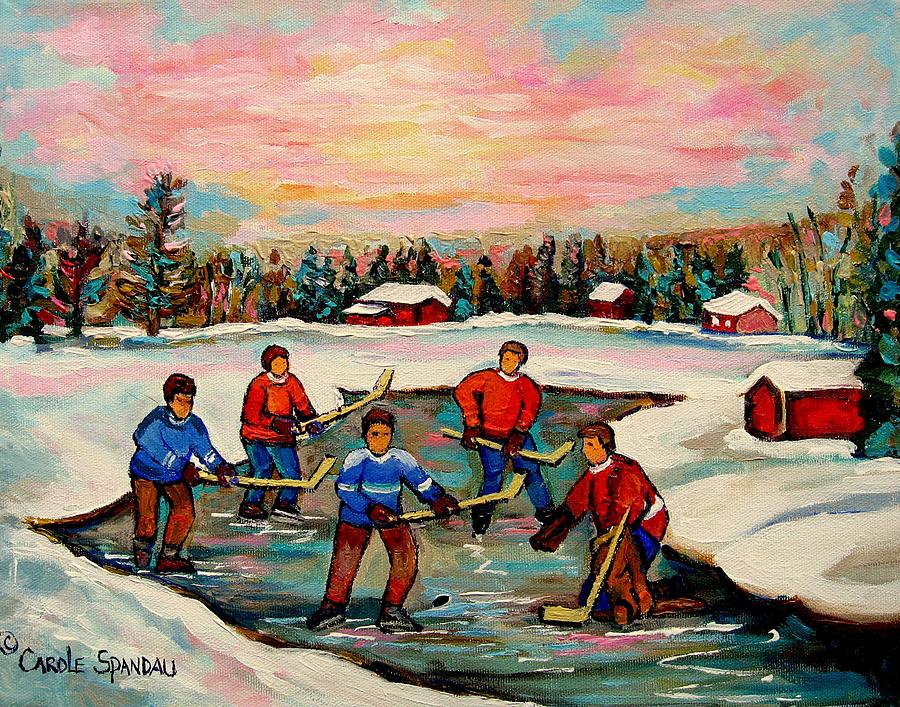 Pond Hockey Countryscene Painting