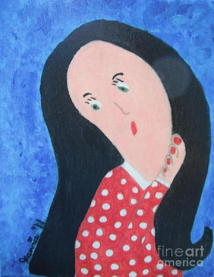 Pondering Black Haired Girl Painting