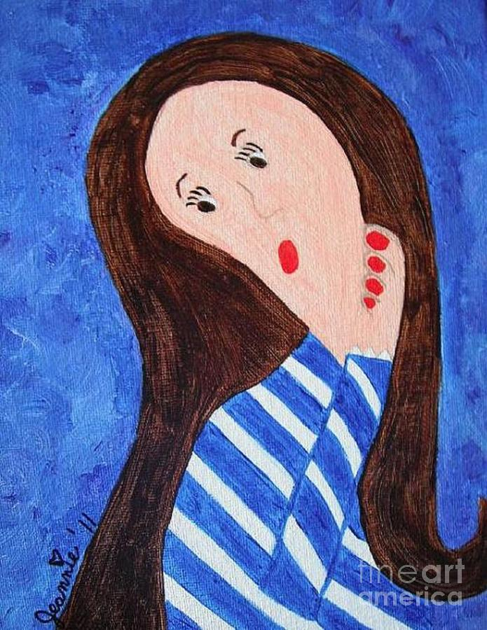 Pondering Brunette Painting