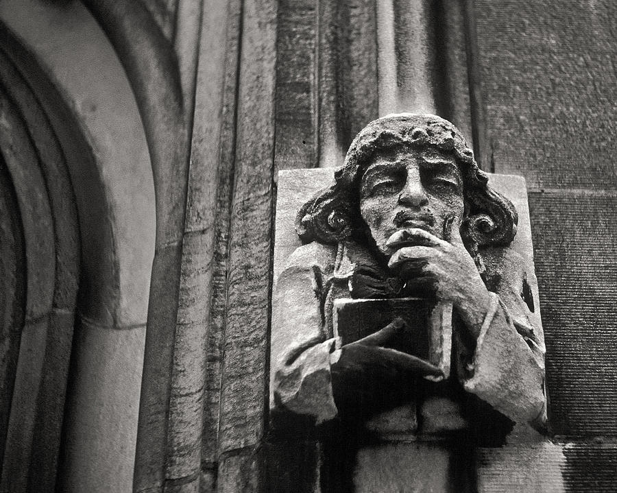 Pondering Gargoyle V.1 University Of Chicago 1976 Photograph  - Pondering Gargoyle V.1 University Of Chicago 1976 Fine Art Print