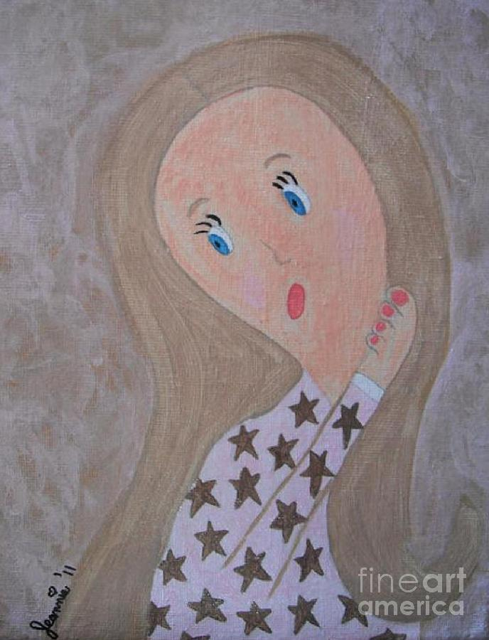 Pondering Sandy Haired Girl Painting