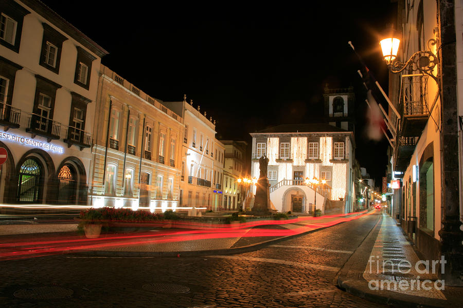 Ponta Delgada At Night Photograph  - Ponta Delgada At Night Fine Art Print