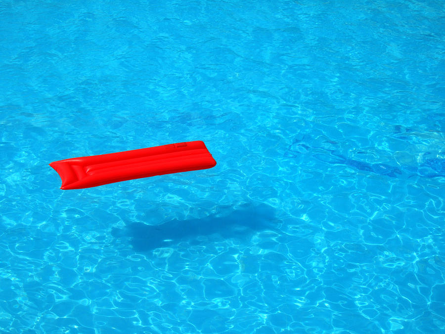 Pool - Blue Water And Red Inflatable Mattress Photograph  - Pool - Blue Water And Red Inflatable Mattress Fine Art Print