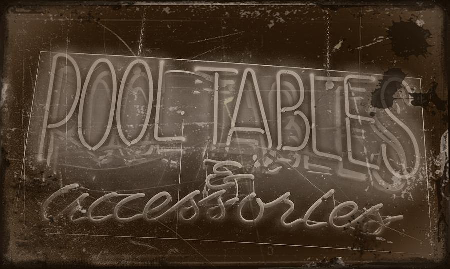 Pool Tables And Accessories - Vintage Neon Sign Photograph  - Pool Tables And Accessories - Vintage Neon Sign Fine Art Print