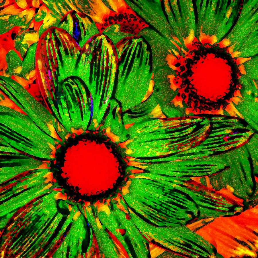 Pop Art Daisies 3 Painting  - Pop Art Daisies 3 Fine Art Print