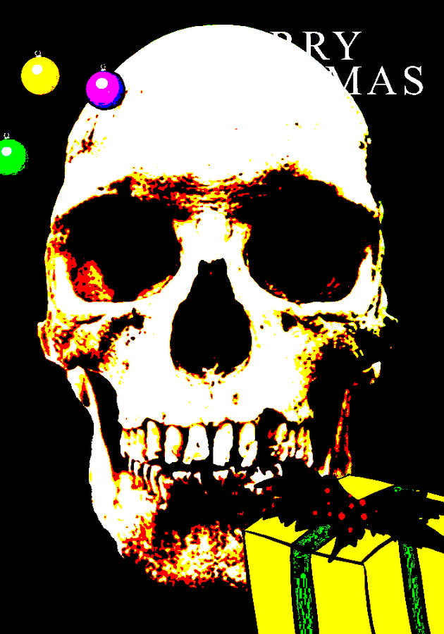 pop art version of a real human skull with Merry Christmas text Photograph