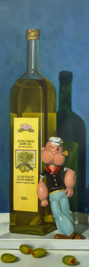 Popeye And Olive Oil Painting  - Popeye And Olive Oil Fine Art Print