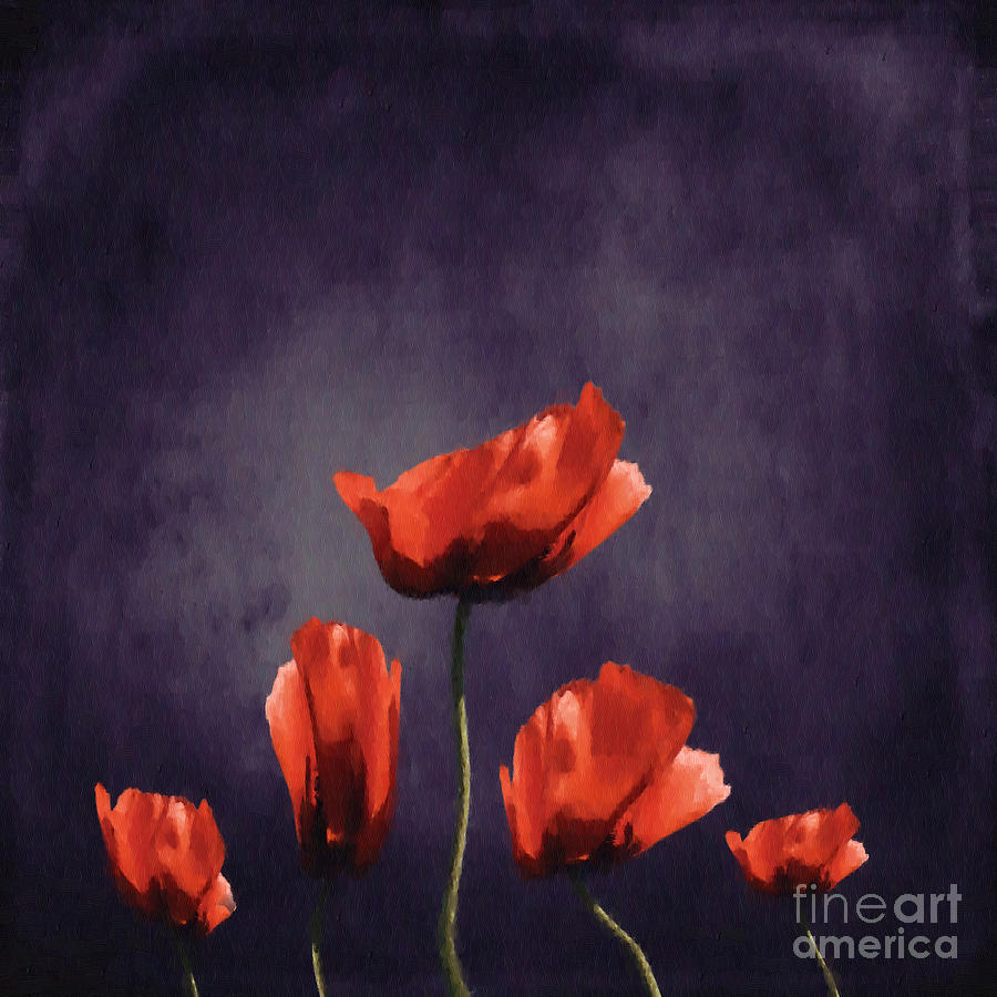 Poppies Digital Art - Poppies Fun 03b by Variance Collections