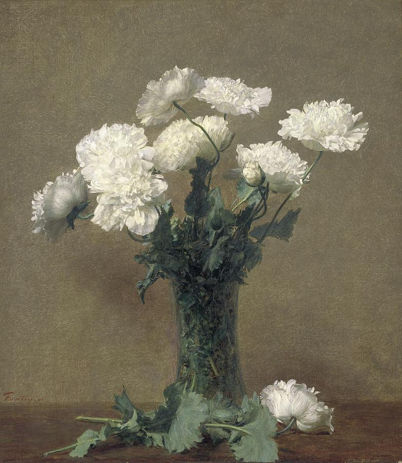 Flowers Painting - Poppies by Ignace Henri Jean Fantin-Latour