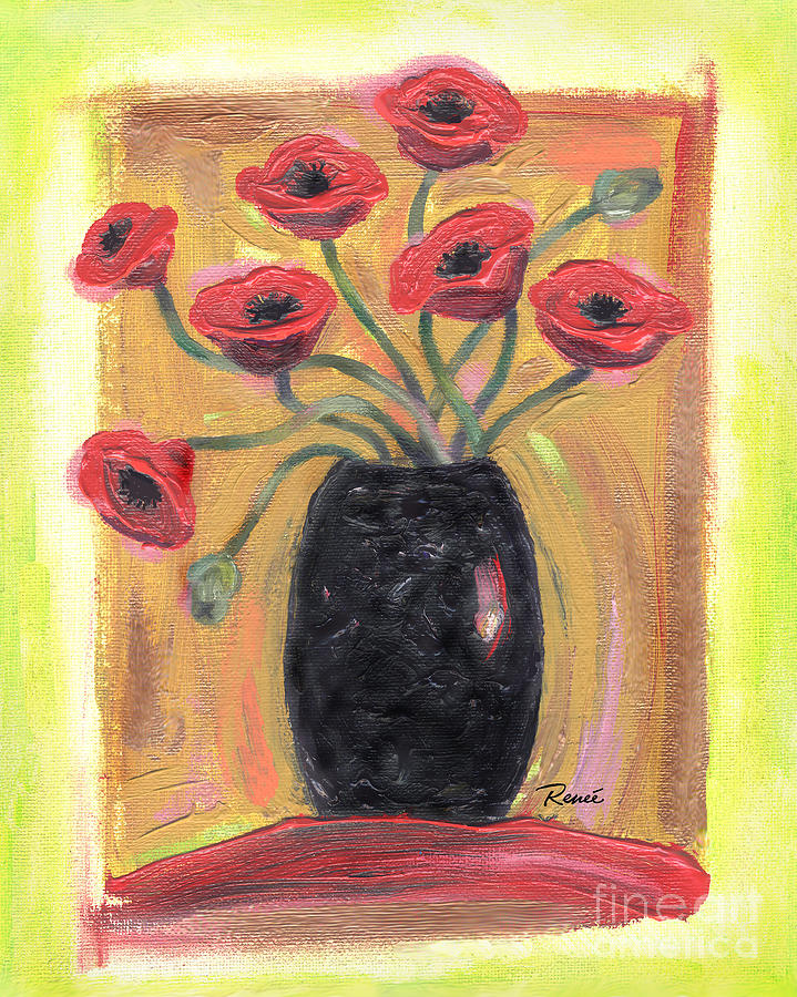 Poppies In Black Painting
