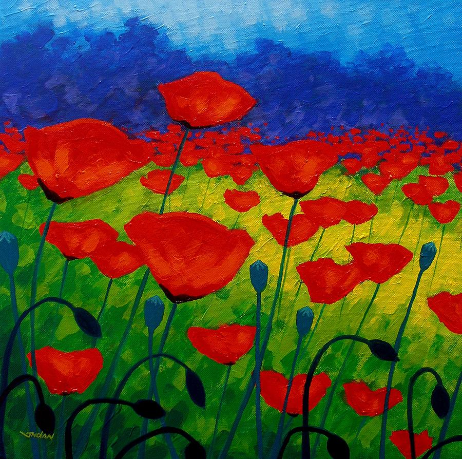 Poppy Corner II Painting  - Poppy Corner II Fine Art Print