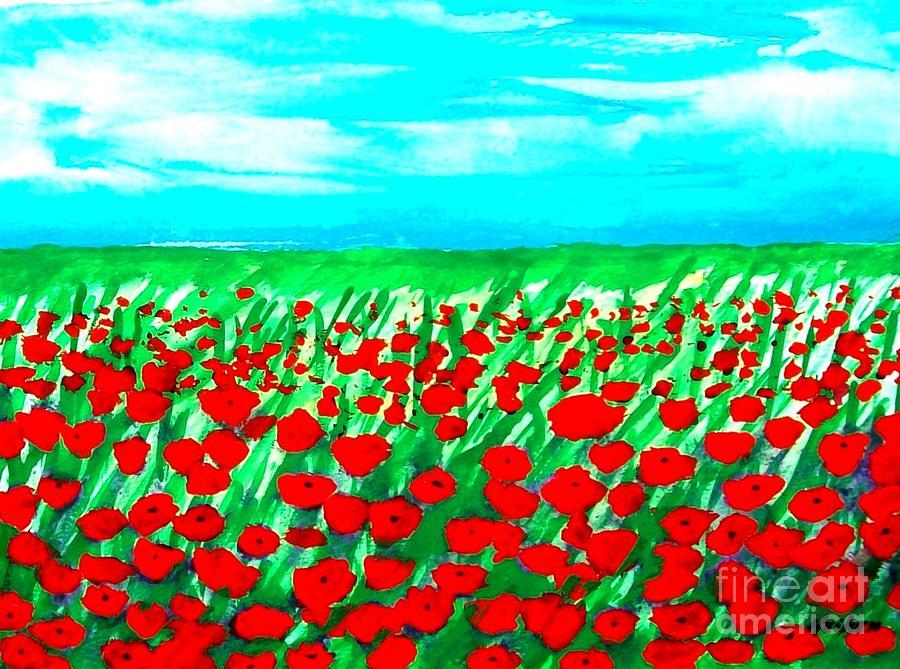 Poppy Field Abstract Mixed Media
