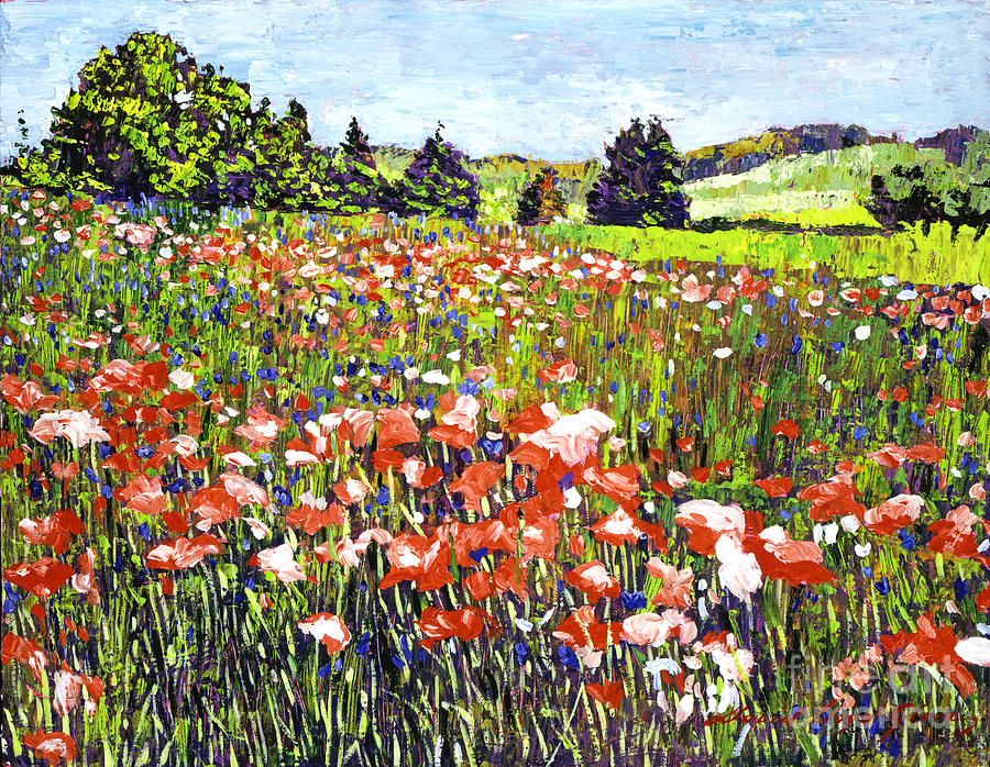 Landscape Painting - Poppy Fields In France by David Lloyd Glover