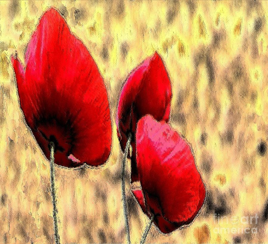 Poppy Flames Painting  - Poppy Flames Fine Art Print