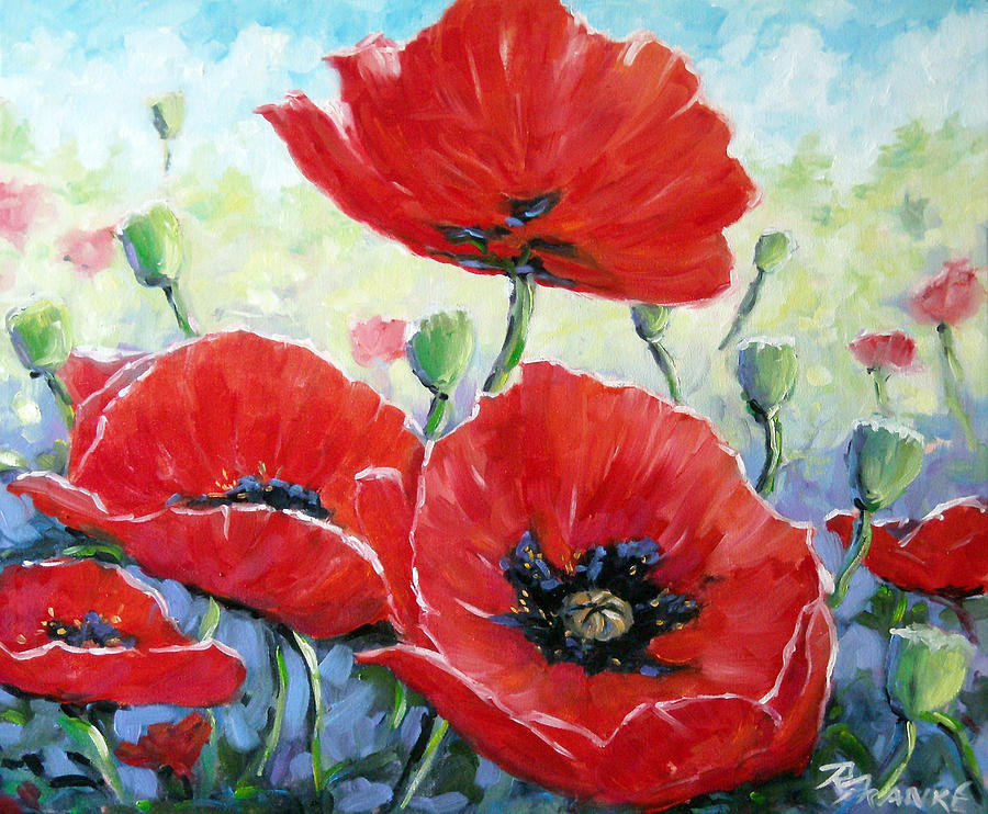 Poppy Love Floral Scene Painting  - Poppy Love Floral Scene Fine Art Print