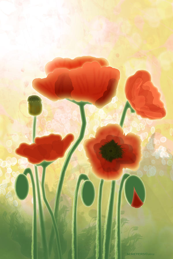 Poppy Mountain Meadow Digital Art  - Poppy Mountain Meadow Fine Art Print