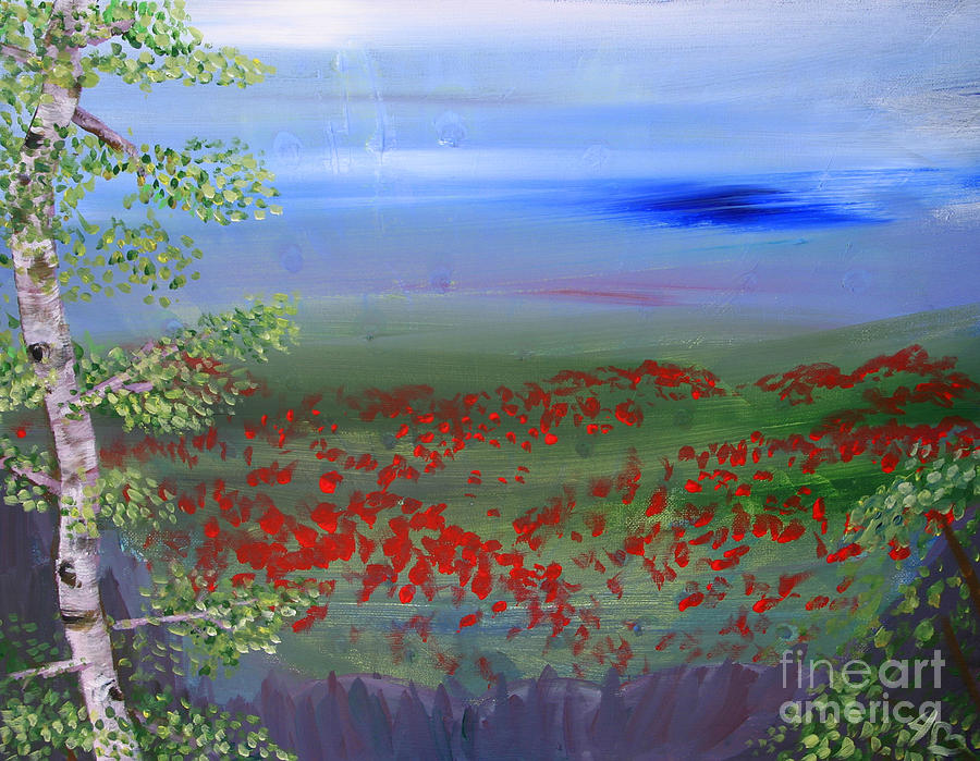 Poppy Valley Painting  - Poppy Valley Fine Art Print