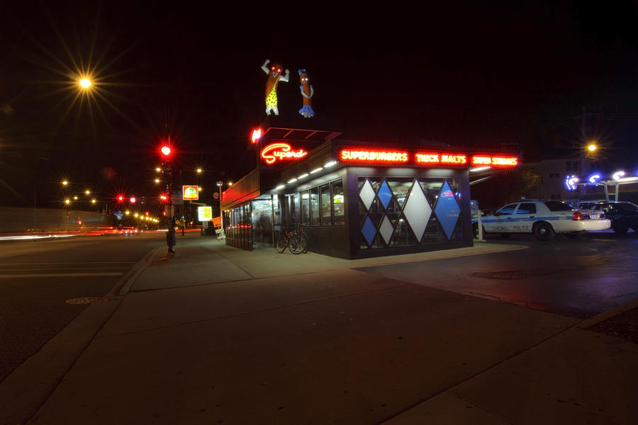 Popular Chicago Hot Dog Stand Night Photograph